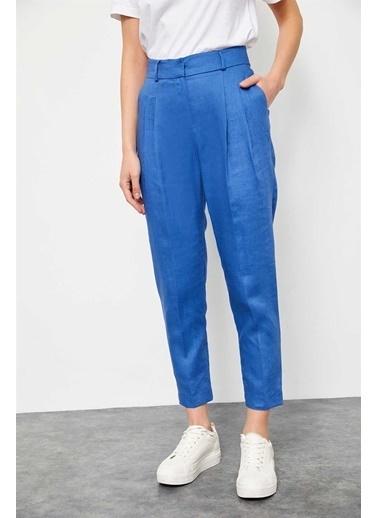 Setre Haki Keten Cepli Havuç Pantolon Mavi